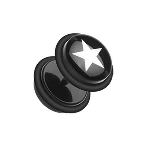 Black/White Star Print Acrylic Fake Plug with O-Rings - 1 Pair