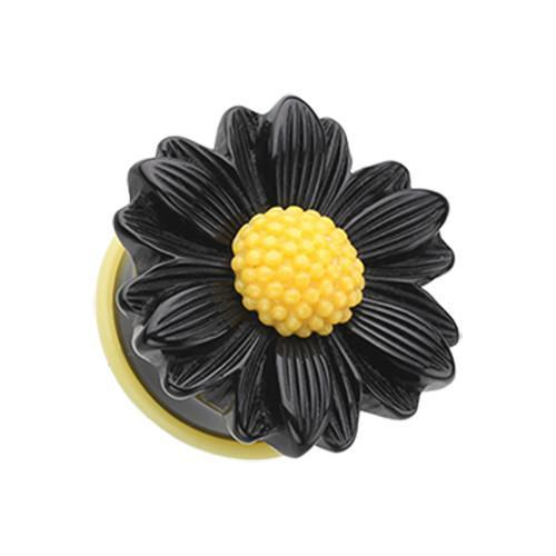Black/Yellow Cutesy Daisy Flower Single Flared Ear Gauge Plug - 1 Pair