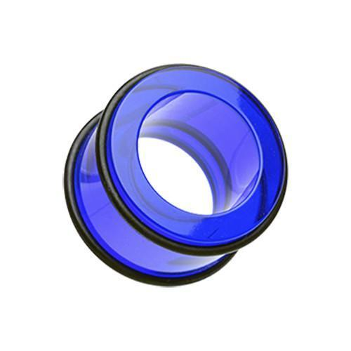 Blue Basic Acrylic No Flare Ear Gauge Tunnel Plug - 1 Pair