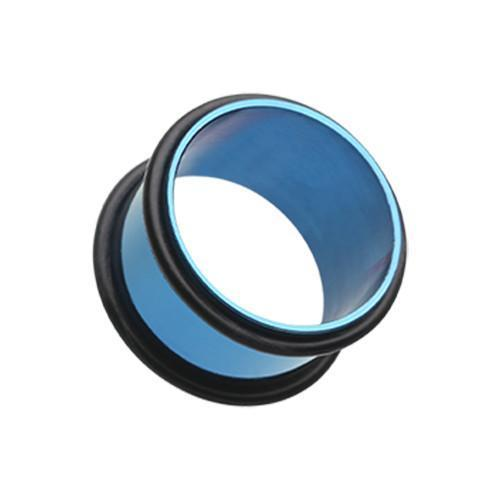 Blue Colorline No Flare Ear Gauge Tunnel Plug - 1 Pair