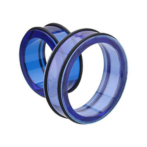 Blue Supersize Basic Acrylic No Flare Ear Gauge Tunnel Plug - 1 Pair