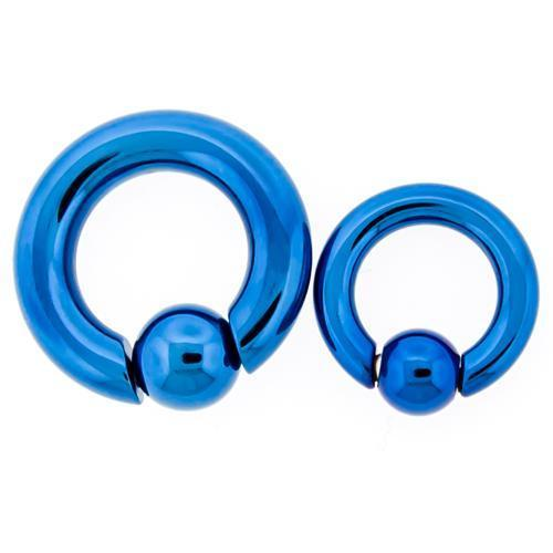 Blue Titanium Hand Polished Captive Bead Ring 2G-8G Snap Ball - 1 Piece