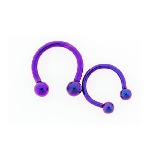 Blurple Horseshoe Circular Barbell Internally Threaded 10G-16G 3mm-6mm Ball Titanium Hand Polished - 1 Piece