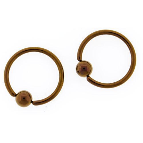 Bronze Titanium Hand Polished Captive Bead Ring 10G-20G Ball - 1 Piece