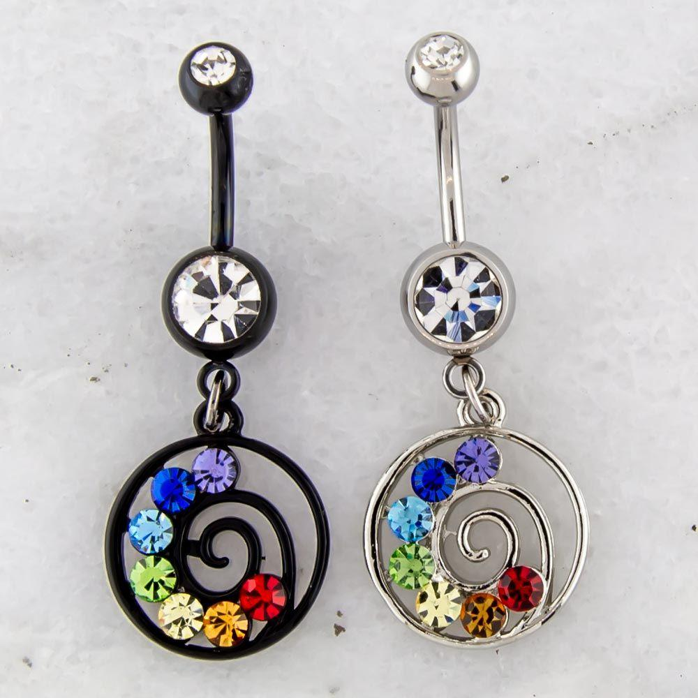 Belly Ring - No Dangle Chakra Swirl Navel Ring - 1 Piece -Rebel Bod-RebelBod
