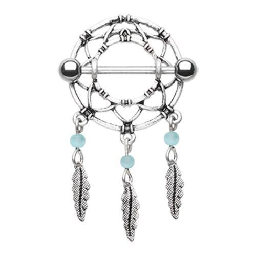 Classic Dreamcatcher Feather Nipple Shield Ring - 1 Piece