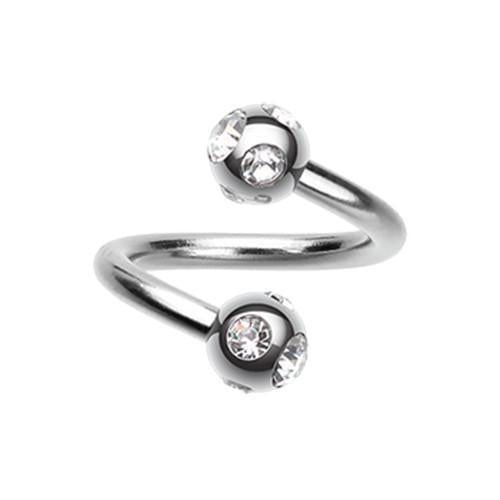 Clear Aurora Gem Ball Steel Twist Spiral Ring