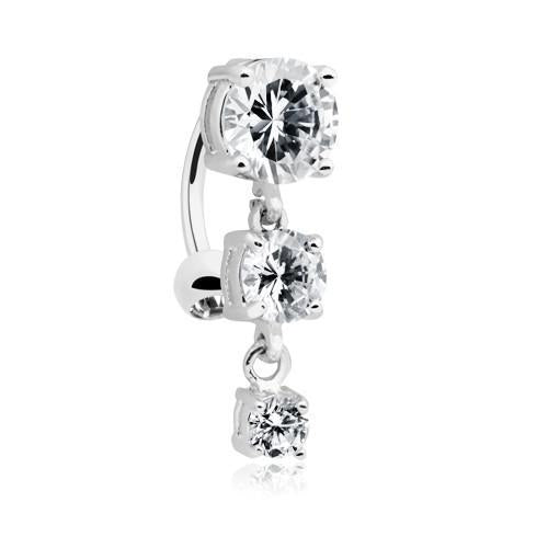 Clear Brilliant Cascading Reverse Drop Top Belly Button Ring