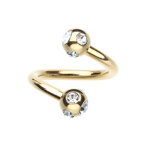 Clear Gold Plated Aurora Gem Ball Twist Spiral Ring