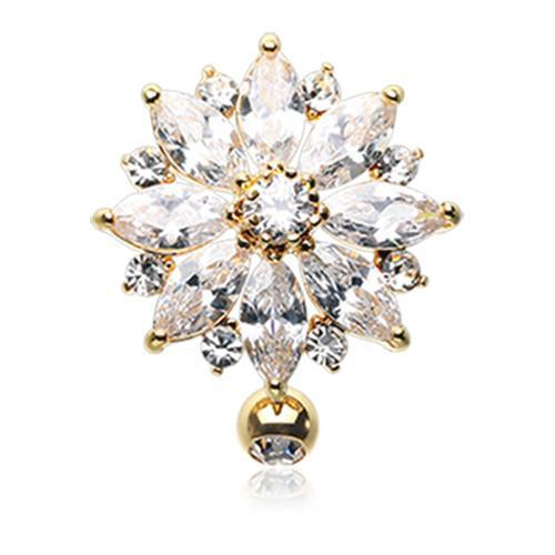 Clear Golden Radiant Flower Multi-Gem Reverse Belly Button Ring