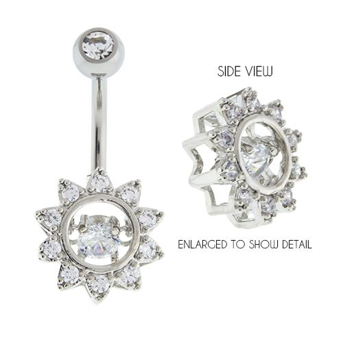 Belly Ring - No Dangle Clear Moving Gem Flower Charm Belly Ring - 1 Piece -Rebel Bod-RebelBod