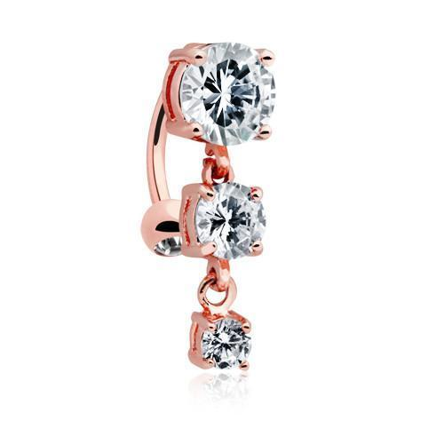 Clear Rose Gold Brilliant Cascading Reverse Drop Top Belly Button Ring