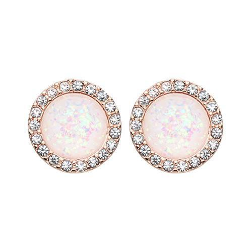 Clear/White Rose Gold Round Crown Opal Jeweled Ear Stud Earrings - 1 Pair