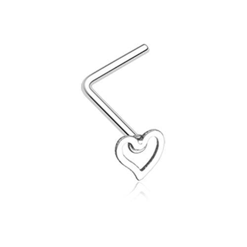 Dainty Heart Icon L-Shaped Nose Ring