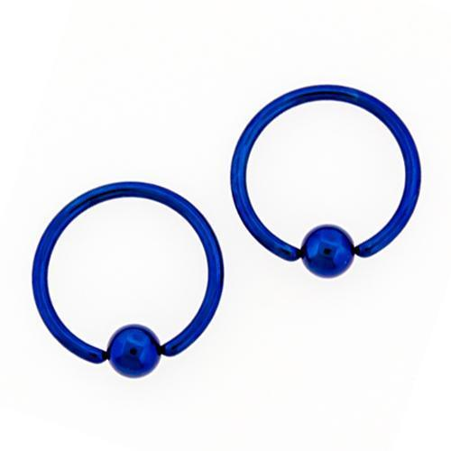 Dark Blue Captive Bead Ring Titanium  Hand Polished 10G-20G Ball - 1 Piece