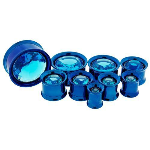 Dark Blue Internally Threaded Double Flare Tunnel Titanium Anodizing Steel Aqua Center Gem - 1 Pair