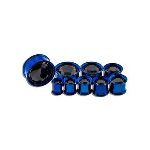 Dark Blue Internally Threaded Double Flare Tunnel Titanium Anodizing Steel Dark Blue Center Gem - 1 Pair