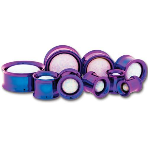 Dark Purple Internally Threaded Double Flare Tunnel Titanium Anodizing Steel White Opal Center Gem - 1 Pair
