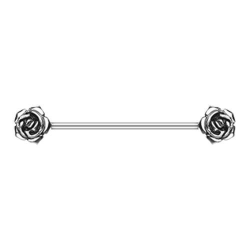 Double Rose Flower Industrial Barbell - 1 Piece