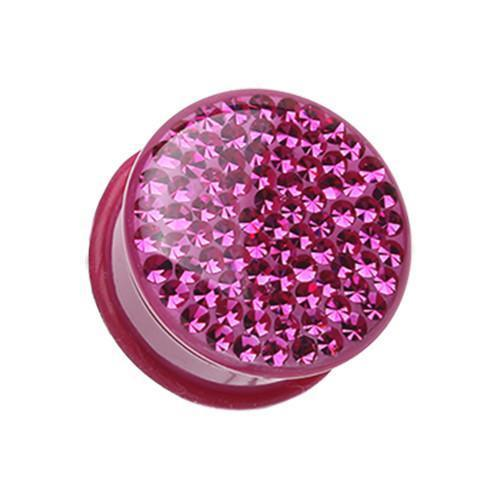 Fuchsia Sold as a Pair Brilliant Sparkles Color Body Single Flared Ear Plug