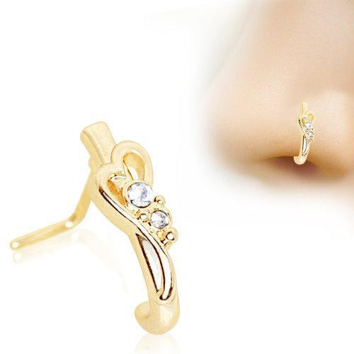 Gold Plated Jeweled Heart L Bend Half Nose Ring