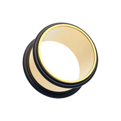 Gold Plated No Flare Ear Gauge Tunnel Plug - 1 Pair