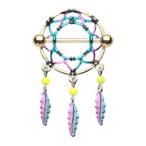 Golden Dreamcatcher Feather Nipple Shield Ring - 1 Piece