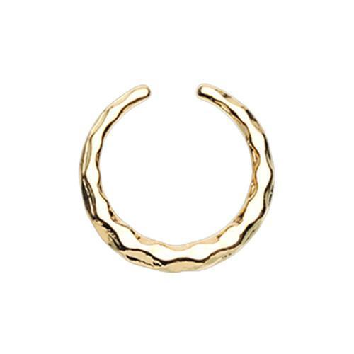 Golden Faceted Textured Septum Retainer Ring