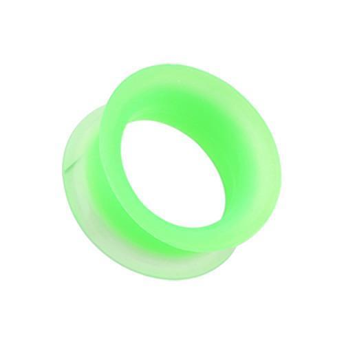 Green Ultra Thin Flexible Silicone Ear Skin Double Flared Tunnel Plug - 1 Pair