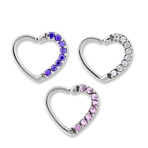 Left Side Pave Gem Annealed Heart Daith Ring - 1 Piece *