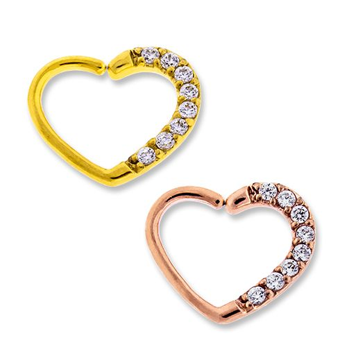 SEAMLESS RING Left Side Pave Gem Annealed Heart Daith Ring  - 1 Piece -Rebel Bod-RebelBod