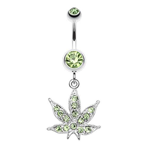 Light Green Marijuana Leaf Sparkle Belly Button Ring
