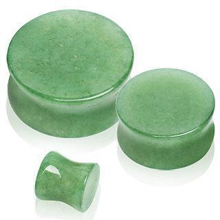Natural Jade Semi-Precious Stone Saddle Plug - 1 Piece