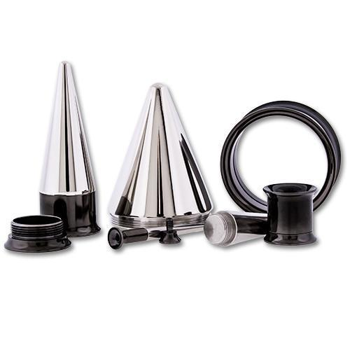 One Steel Black PVD Coated Tunnel With One Internally Threaded 316L Steel Taper - 1 Piece