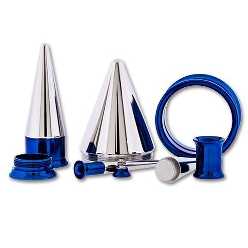 One Steel Dark Blue Anodized Tunnels With One Internally Threaded 316L Steel Taper - 1 Piece