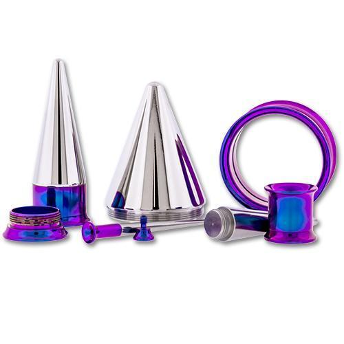 One Steel Dark Purple Anodized Tunnels With One Internally Threaded 316L Steel Taper - 1 Piece