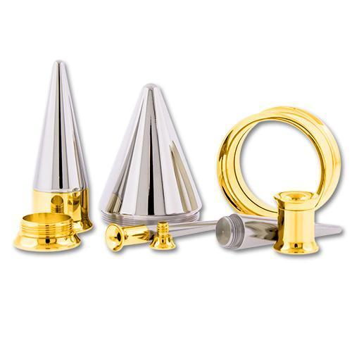 One Steel Gold PVD Coated Tunnels With One Internally Threaded 316L Steel Taper - 1 Piece