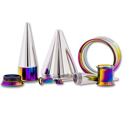 One Steel Rainbow Anodized Tunnels With One Internally Threaded 316L Steel Taper - 1 Piece