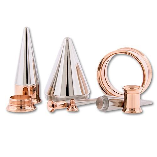 One Steel Rose Gold PVD Coated Tunnels With One Internally Threaded 316L Steel Taper - 1 Piece