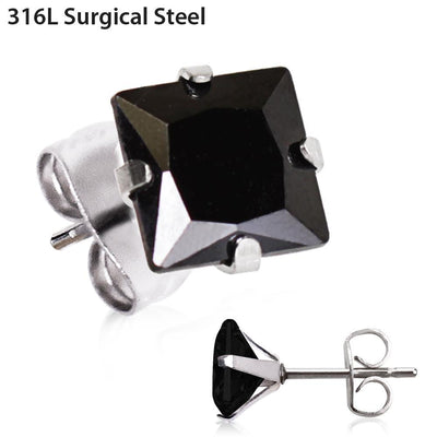 Jewelry/Earrings/Stud Earrings Pair of 316L Surgical Steel Black Princess Cut CZ Stud Earrings -Rebel Bod-RebelBod