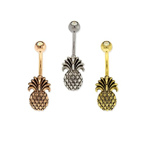 Belly Ring - No Dangle Pineapple Belly Ring - 1 Piece -Rebel Bod-RebelBod
