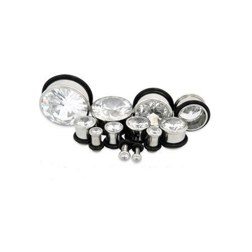 Pressed Set Single Flare Plug Clear Gem Big Bling - 1 Piece