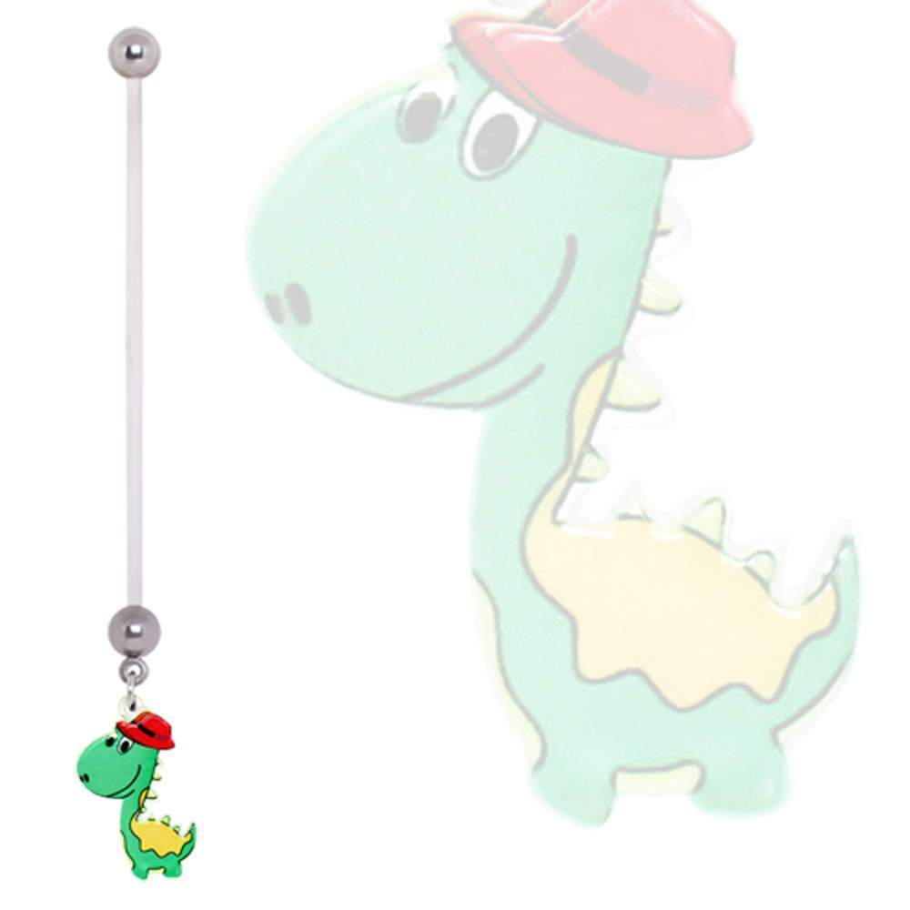 PTFE Green Dinosaur with Fedora Dangle Pregnancy Navel Ring