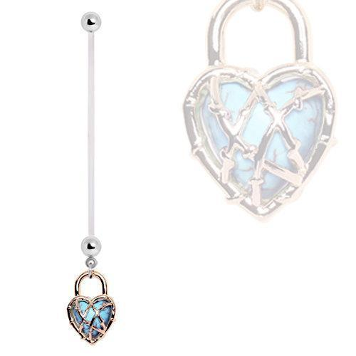 PTFE Pregnancy Navel Ring w/ Locked Turquoise Heart Dangle