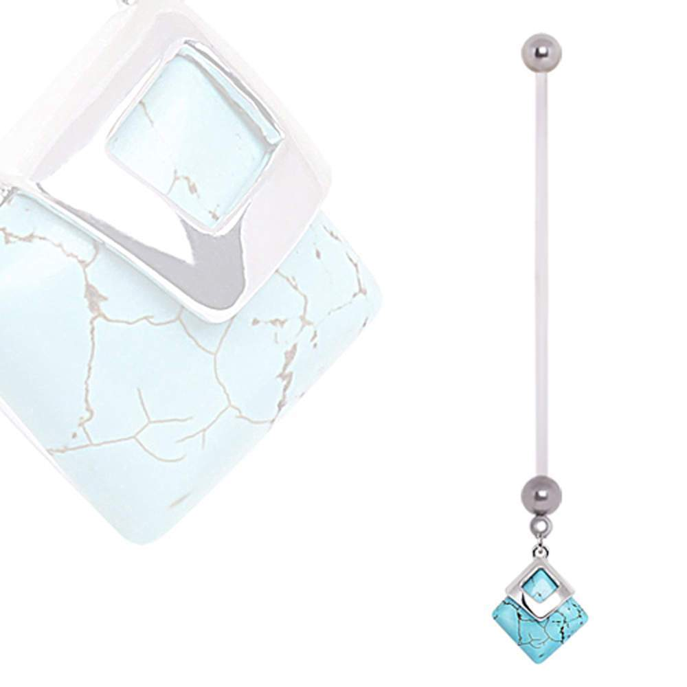 PTFE Squre Turquoise Dangle Pregnancy Navel Ring