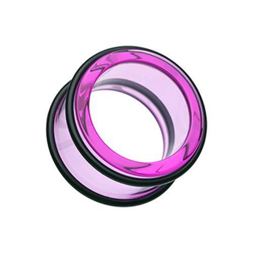 Purple Basic Acrylic No Flare Ear Gauge Tunnel Plug - 1 Pair