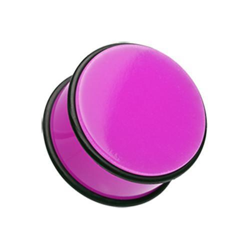 Purple Neon Colored Acrylic No Flare Ear Gauge Plug - 1 Pair