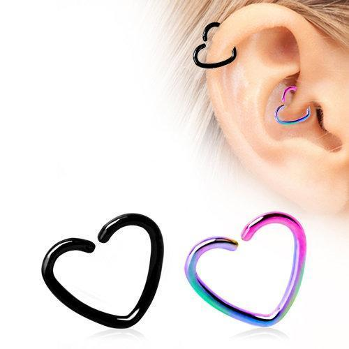 PVD Plated Heart Shaped Cartilage Earring - 1 Piece