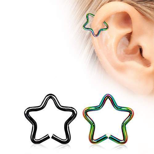 PVD Plated Star Shaped Cartilage Earring - 1 Piece