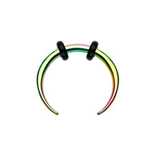 Rainbow Black Basic Steel Pincher Septum Ring